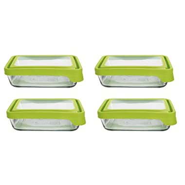 Anchor Hocking 6-Cup Rectangular Food Storage Containers with Green TrueSeal Airtight Lids, Set of 4