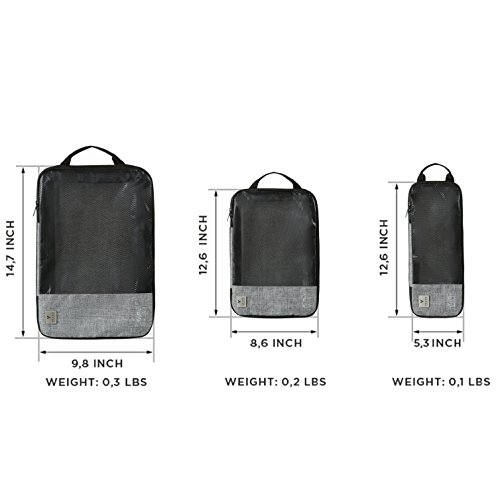 VASCO Compression Packing Cubes for Travel – Set of 3 Slim Packing Cubes by Vasco (Image #6)