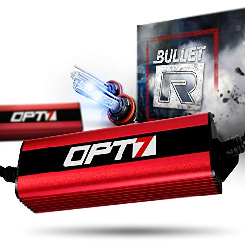 OPT7 Bullet-R H11 H8 H9 HID Kit - 3X Brighter - 4X Longer Life - All Bulb Sizes and Colors - 2 Yr Warranty [6000K Lightning Blue Xenon Light]