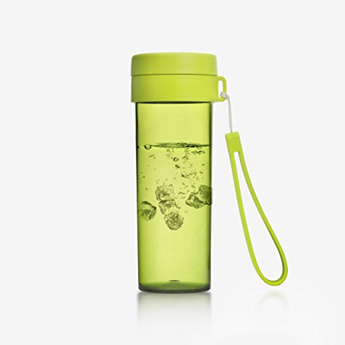 Emoi 16oz Sport Infuser Water Bottle, Tritan Wide Mouth Fruit Tea Infusion Outdoor Drinking Cup, BPA-Free Leak Proof Heat Insulated Flask, Food Grade PP Cap, Portable Strap, Handheld Size.(H1082G)