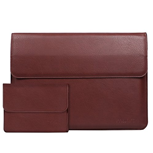 MOSISO PU Leather Sleeve Compatible with 13-13.3 inch 2018 2017 2016 MacBook Pro (A1989/A1706/A1708)/Air/Pro/Pro Retina/2017 Surface Laptop, Stand Function Bag with Small Case, Wine Red by MOSISO