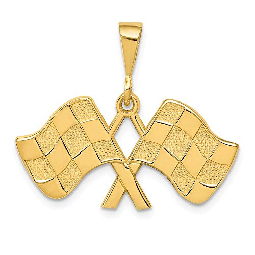 14k Yellow Gold Racing Flags Pendant Charm Necklace Sport Fine Jewelry Gifts For Women For Her