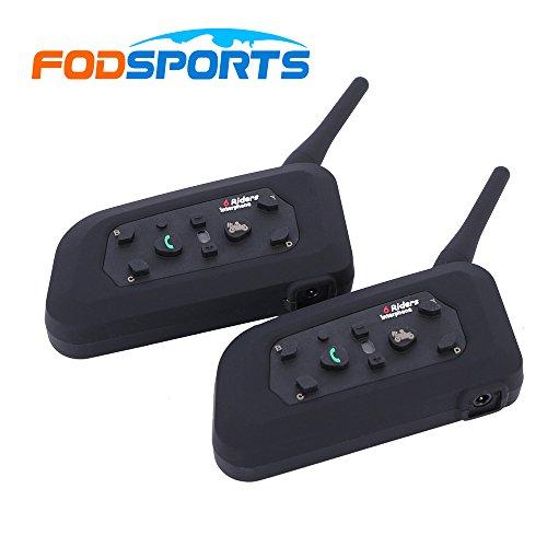 Fodsports 2 pieces BT Casque de moto casque Bluetooth intercom, Intercom de casque pour 6 coureurs Casque, 1200m