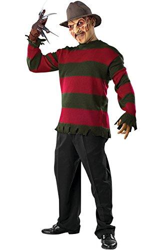 Nightmare On Elm Street Deluxe Freddy Sweater, Red/Black, X-Large Costume (Scary Freddy Krueger Costume)
