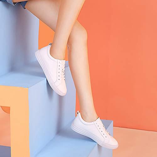 De Tacón Encaje Cuero Otoño Mujeres Pequeños Blancos Plano Cómodos Blanco Ocasionales Mujer Zapatos 4txq0wIndq