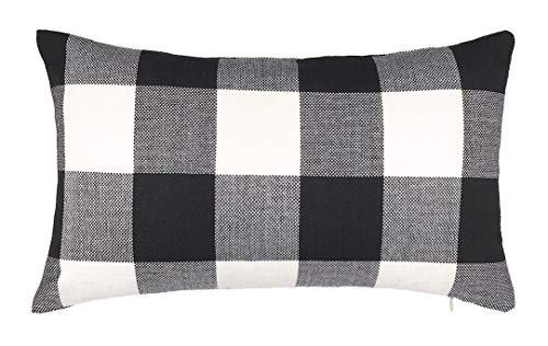 4TH Emotion 12 x 20 Inch Black and White Buffalo Check Plaids Lumbar Throw Pillow Case Cushion Cover Retro Farmhouse Decoration for Couch Sofa Bed (Black Buffalo Check Pillow)