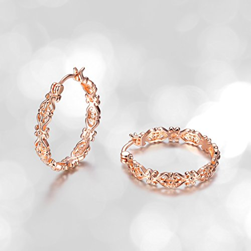14k Rose Gold Plated Sterling Silver Filigree Round Hoop (Filagree Hoop)