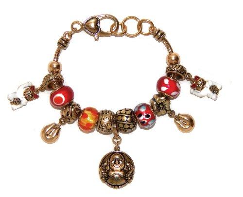 landau Ambrosia Good Luck with Budda Theme Charm Bracelet