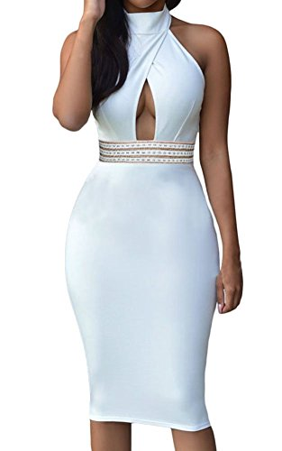 Sexy Womens Elegant Jeweled Waist Halter Party Club Midi Dress (X-Large, - Halter Jeweled Gown