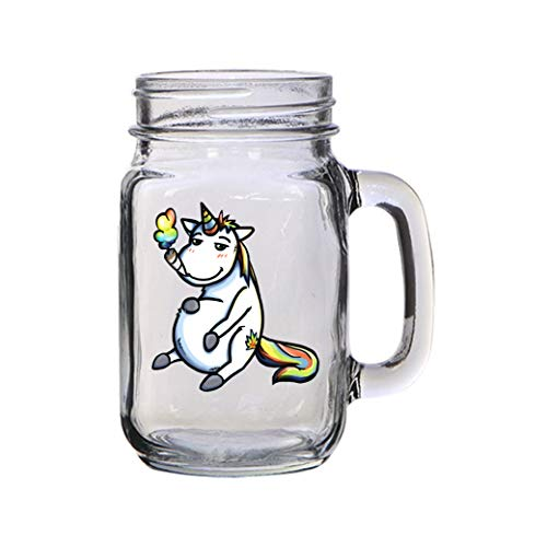 Pot Smoking Pals Unicorn - 16 oz Mason Jar Glass Mug for Beer Tea Wedding, Engagement Anniversary Bridal Party for Newlyweds (A)]()