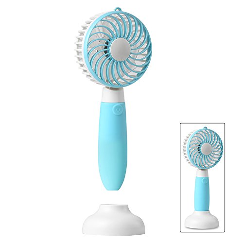 Mini Fan, Allkeys Personal Handheld Fan Battery Operated Portable Rechargeable USB with Base 3 Speeds for Home Office Outdoors Travel (Blue)