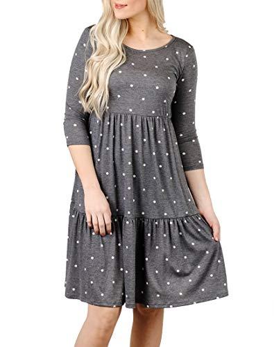 MIROL Women's Casual Fall 3/4 Sleeves Empire Waist Polka Dot Ruffle Hem Loose Fit Knee Length Dress