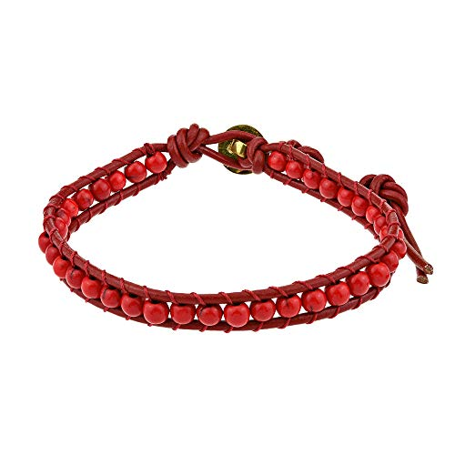 AeraVida Enchanted Ohm Reconstructed Red Coral Handmade Bracelet ()