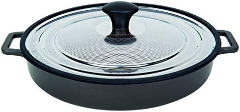 MasterPan Non-Stick Stovetop Oven Grill Pan with Heat-in Steam-Out Lid, nonstick cookware, 12 , Black, MP-107