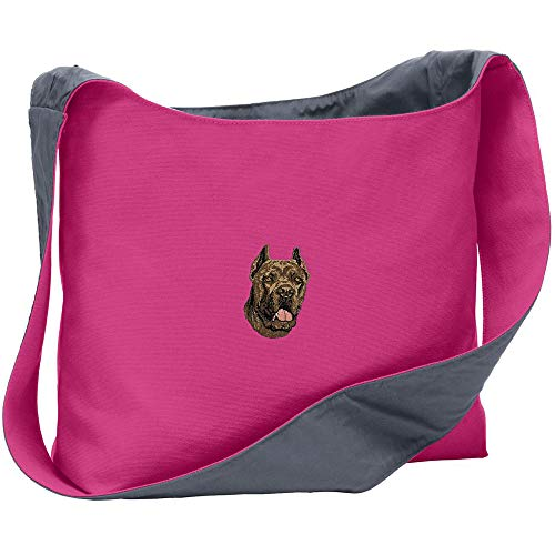 Cherrybrook Breed Embroidered Port Authority Canvas Sling Bag - Tropical Pink/Charcoal - Cane Corso