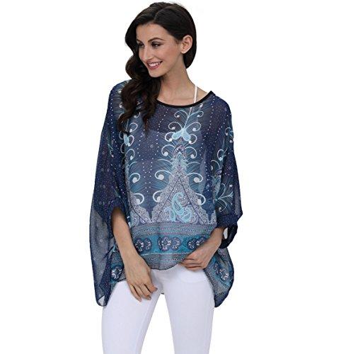 Manica 4295 4 Taglie Feelme Camicetta Chiffon Donna Bohemian Shirt Forti Tops Blusa Stampa Estate Maglietta T 3 qvqYwIa