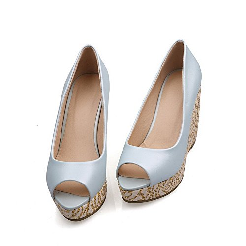 AllhqFashion Mujeres Peep Plataforma Material Suave Sólido Sin cordones Sandalia Azul