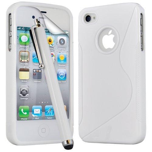 (Weiß) Apple iPhone 4 Schutzhülle S-Line Wave Gel Case Cover Skin, Aus- und einfahrbarem Capacative Touchscreen Stylus Pen & LCD Screen Protector Guard von Spyrox