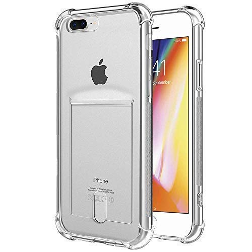 (ANHONG iPhone 7 Plus / 8 Plus Clear Case with Card Holder, [Slim Fit][Wireless Charger Compatible] Protective Soft TPU Shock-Absorbing Bumper Case with Soft Screen Protector)