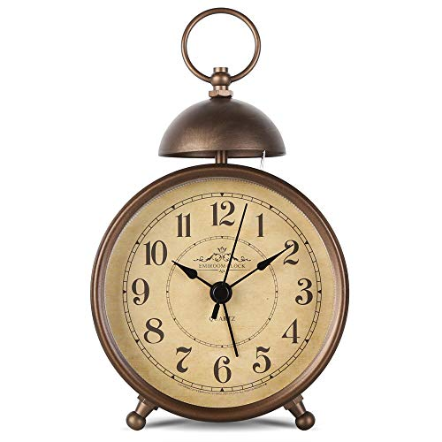EMIROOM 5.5 Inch Retro Single Bell Loud Alarm Clock, Silent Non Ticking Battery Operated, Classic Small Table Alarm Clock for Bedroom (Arabic Numerals) (Clocks For Designer Sale)