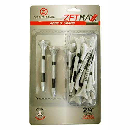 Zero Friction Unisex MAXX 3-Prong 2-3/4 Golf Tees, Grey/Black (24 Tees/Pack) -