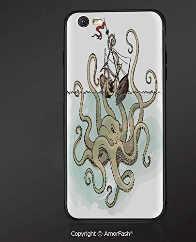 iPhone 6s /6 3D Cell Phone TPU Case Silicone Protective Case Cover for iPhone 6s/6,Kraken Decor,Octopus Sinking The Pirate Ships Greek Myth Fish Culture Cartoon Art Image,Tan Pale Green
