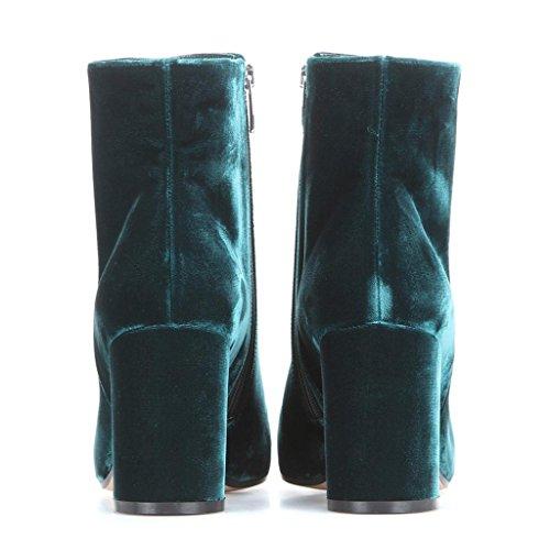 0708FD artificiels Les Bottes Mme Dames Bottes Travail des QIAOShoe Hauts Hiver amp;Q de Talons d'automne Green Q Chaussures de Afficher Bohésiens Cheveux Banquet 6qxEZRw1