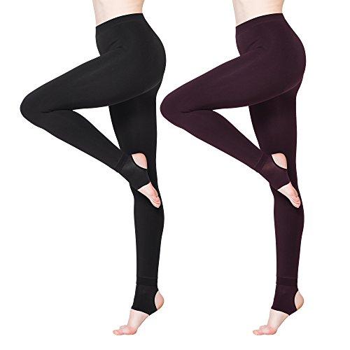 (BONAS 2packs Women's Thermal Leggings Fleece Lined Casual Seamless Athletic Tights)