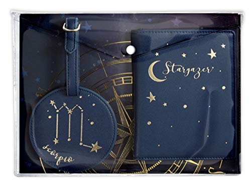 Hang Accessories Celestial Horoscope Astrology Zodiac 3 Piece Travel Set - Luggage Tag, Passport Wallet and Document Clutch (Scorpio)