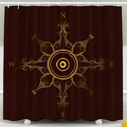 (HerysTa Bathroom Shower Curtain, Waterproof Non-Toxic Room Partition Curtain Thickening Curtain Golden Vintage Bathroom Shower Curtain 78X72 Inch)