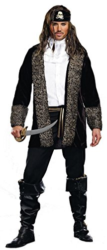Rock The Ship Pirate Adult Costumes (Dreamgirl Men's Rock The Ship, Black, X-Large)