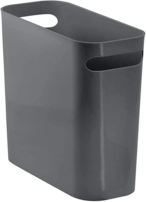 "mDesign Slim Plastic Rectangular Small Trash Can Wastebasket, Garbage Container Bin with Handles for Bathroom, Kitchen, Home Office, Dorm, Kids Room - 10"" High, Shatter-Resistant - Charcoal Gray"