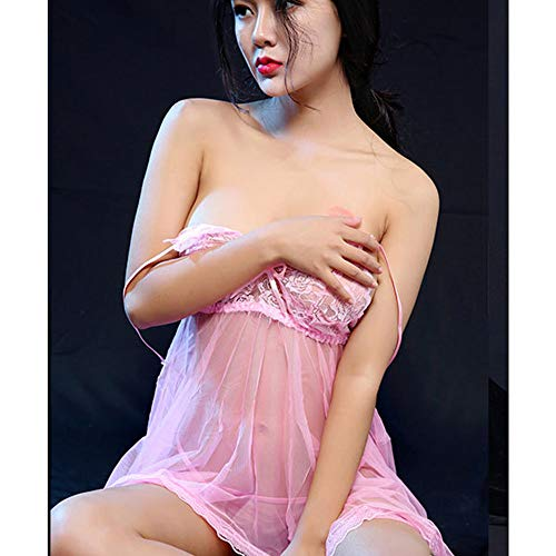 Nuit Rose Dentelle Robe Taille à Mesh Femmes Vêtements Ansenesna Voir Sexy Uniformes Pyjamas Fun De Travers 4XwnU