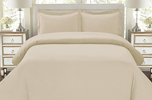 UNIVERSAL BEDDING 3pc Duvet Cover Set-1500 Thread Count Egyptian Quality Ultra Silky Soft Top Quality Premium Bedding Collection CAL KING SIZE SOLID IVORY