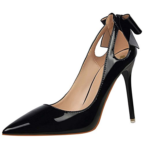 Heel Heels Stiletto Bridal Black Shoes Patent Pump Office Bow Leather Ladies OL Sexy Toe Wedding High Wealsex Pointed Court Party Women's Shoes Dress wp7nxWBX