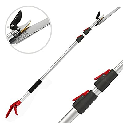 Kioos Extendable Pole Saw & Pruner Long Reach Telescopic <br>Stick Tree Pruner Trimmer Fruit Picker and Gardening <br>Shear Aluminium Pole (4.6-10ft)