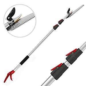Tree Pruner With Extendable Pole Saw Long Reach Fruit Picker HarvesterTelescopic portable Gardening Shear (4.6-10 feet)