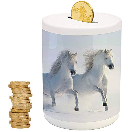 (Horses,Money Bank for Kids,Top Slot Porcelain Nursery Décor Baby Bank,Galloping Rare Spotted Horses on Snow Field Dominant Genes Albino Different Animals Print )