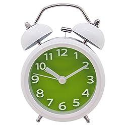 Konigswerk 3 Non-ticking Quartz Analog Bedside Twin Bell Alarm Clock With Loud Alarm and Nightlight (Green) AC029G