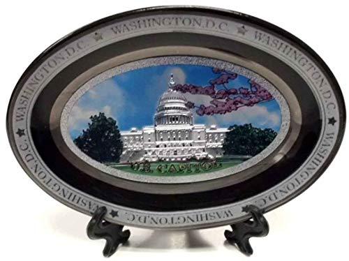 (U.S Capitol Washington DC Colorful Black Oval Ceramic Plate with Stand - Washington DC Souvenirs)