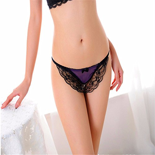 CCHYH Pearl T Trousers Sexy Hollow Lace Trim Thong Temptation Low Waist Lesbian G-String Panties One Size, (Pearl Trim G-string)