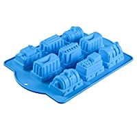 Allforhome 9 Cavidades Tren Moldes Pastel de silicona Molde para hornear Sartenes flexibles para cupcakes Diseño de trenes Jabón hecho a mano Molde de arcilla de polímero de gelatina