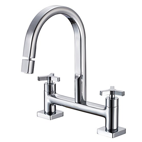 Faucet Handle Bridge Two Kitchen (JOMOO Lead Free Brass Chrome Two Handle Bridge Kitchen Faucet 2 Holes 8-Inch Centers Bridge Sink Faucet With Cross Handle)