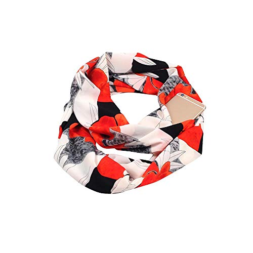 Fashion Scarves Women Scarf with Pockets Lightweight Infinity Christmas Afterso