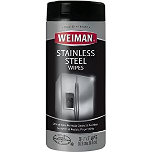 Weiman Stainless Steel Wipes - Removes Fingerprints, Residue, Water Marks and Grease From Appliances - Works Great on Refrigerators, Dishwashers, Ovens and More - 30 Count