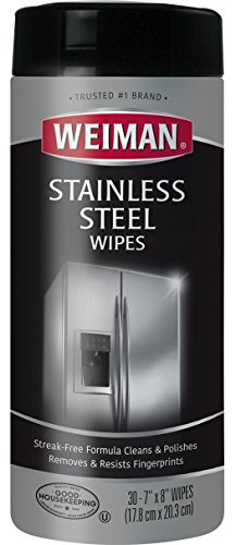Weiman Stainless Steel Wipes - Removes Fingerprints, Residue, Water Marks and Grease From Appliances - Works Great on Refrigerators, Dishwashers, Ovens and More - 30 Count (Cleaning Stainless Wipes Steel)