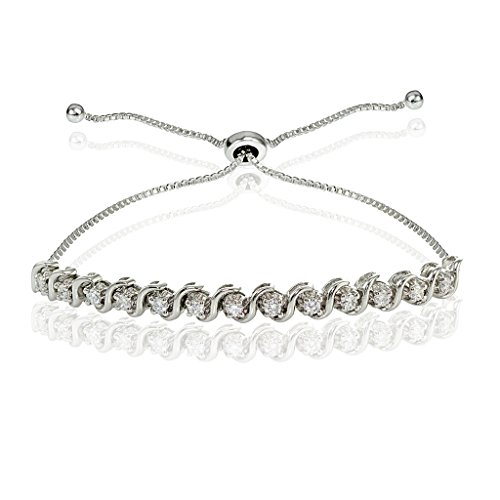 Sterling Silver Cubic Zirconia 2mm Round-cut S Design Adjustable Bracelet