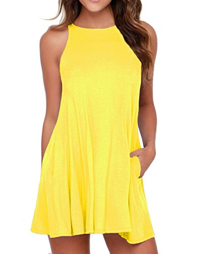 (HiMONE Women's Sleeveless Summer Swing Tank Sundress Yellow X-Large)