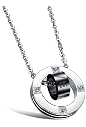 3Aries Stainless Steel Rose Gold/Black Love Ring in Circle Pendant Couple Necklaces Fashion New Style Jewelry Women/Men Necklace