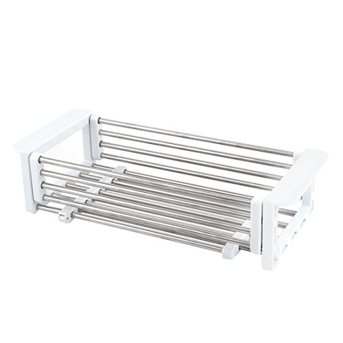 uxcell Metal Kitchen Telescopic Dish Drain Rack Sink Tray Co